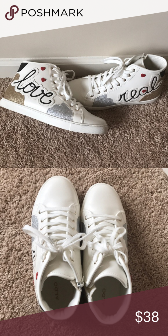 """752807a17464 Aldo """"Real Love"""" Sneakers Like new worn once for a fun shoot! Silver and gold  sparkle sections with black """" real love"""" wording and red 3D hearts!"""