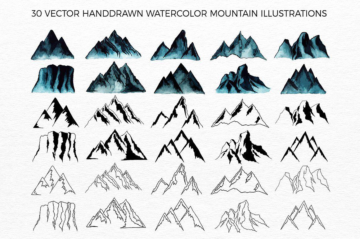 Mountains handdrawn vector u rastr by viktorydesign on