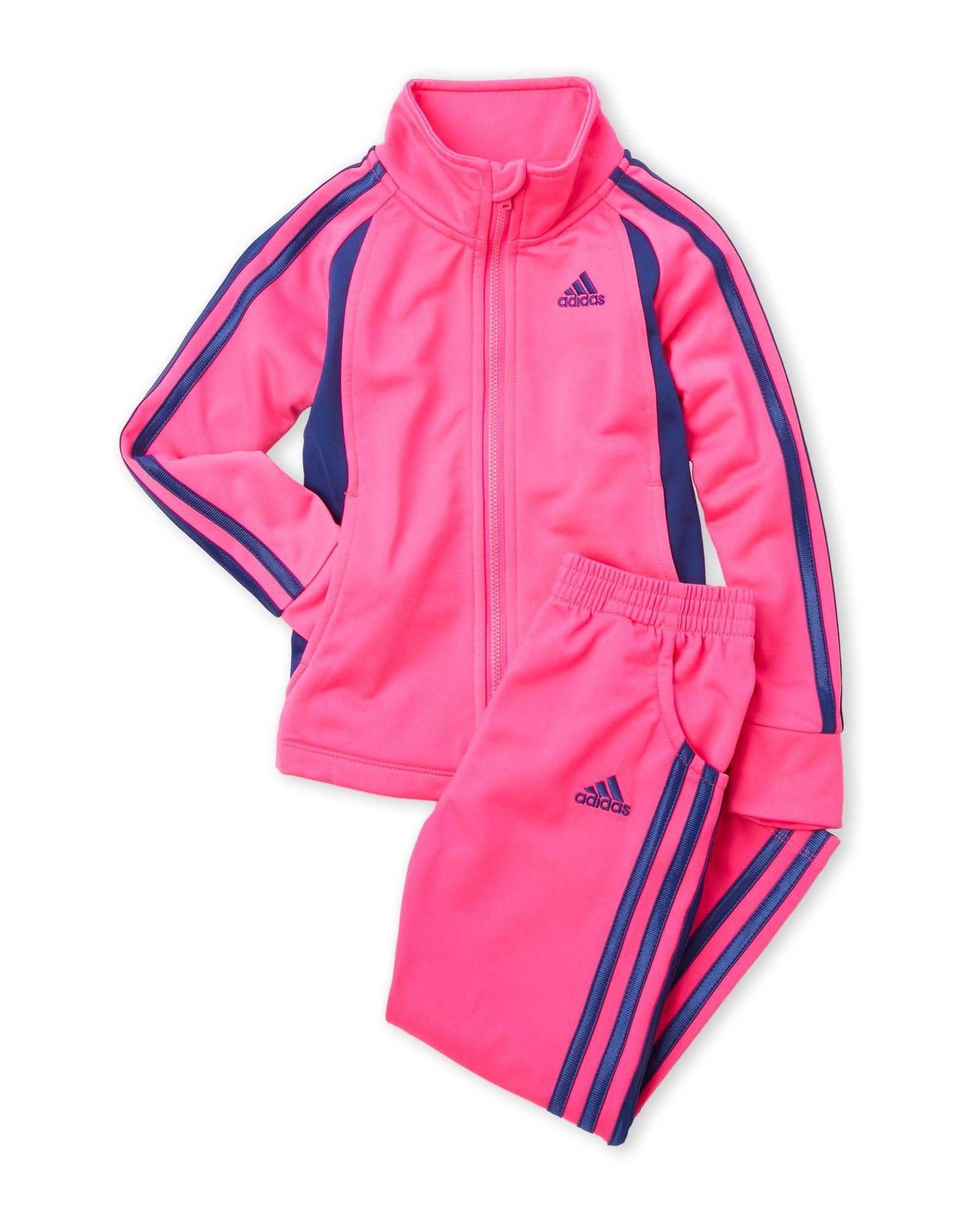 Adidas (chicas 4 6x) dos piezas de prendas de tricot chándal rosa