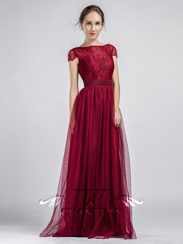 Long Cap Sleeves Lace and Tulle Bridesmaid Dress With Low V Back ...