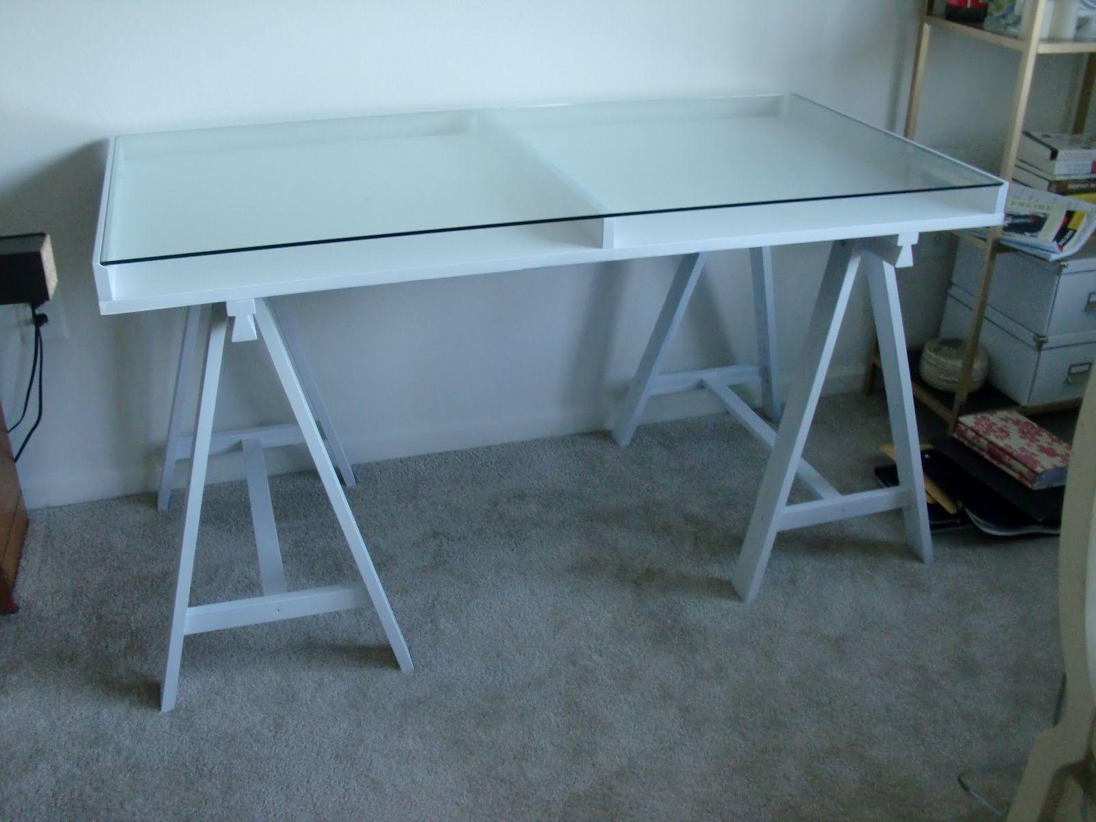 Glass Sawhorse Desk Jpg 1600 1200 Schreibtisch Mit Glasplatte