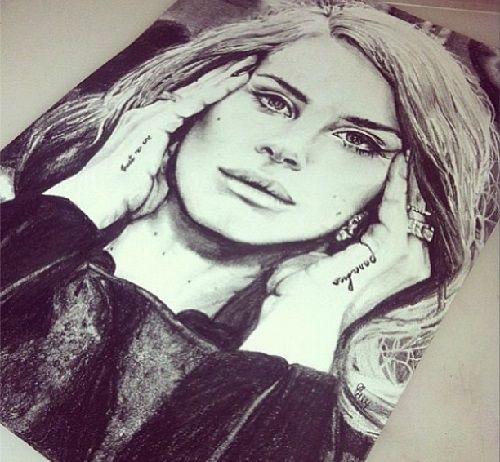 Lana del rey pencil drawing by australian artist elle wills