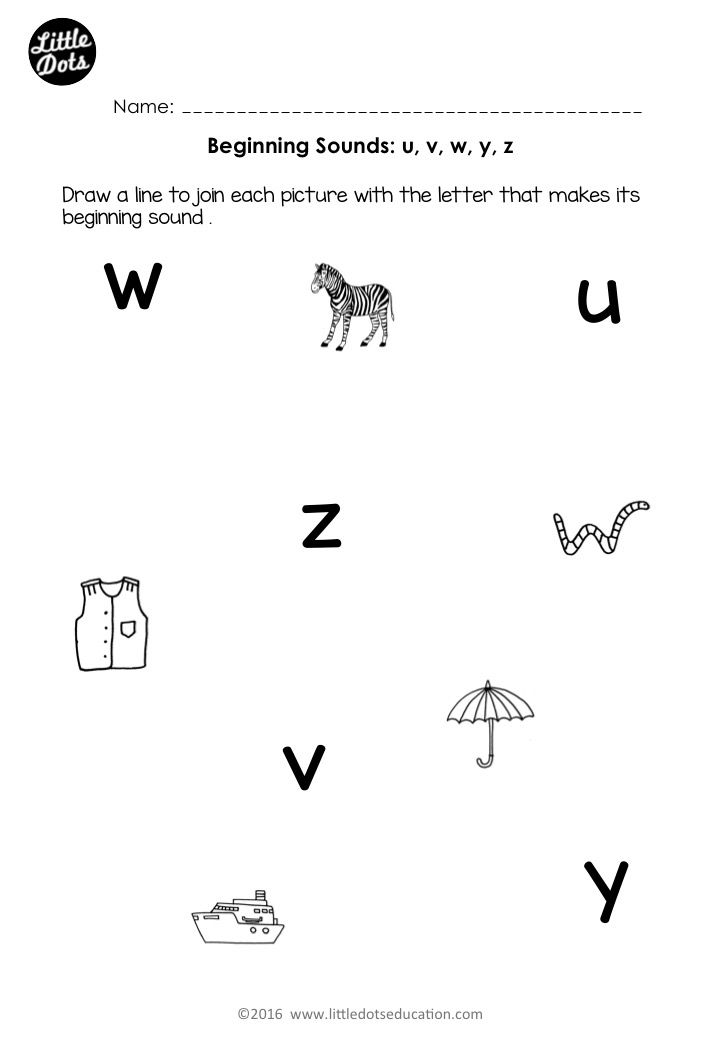 Free beginning sounds worksheets for letters u, v, w, x, y