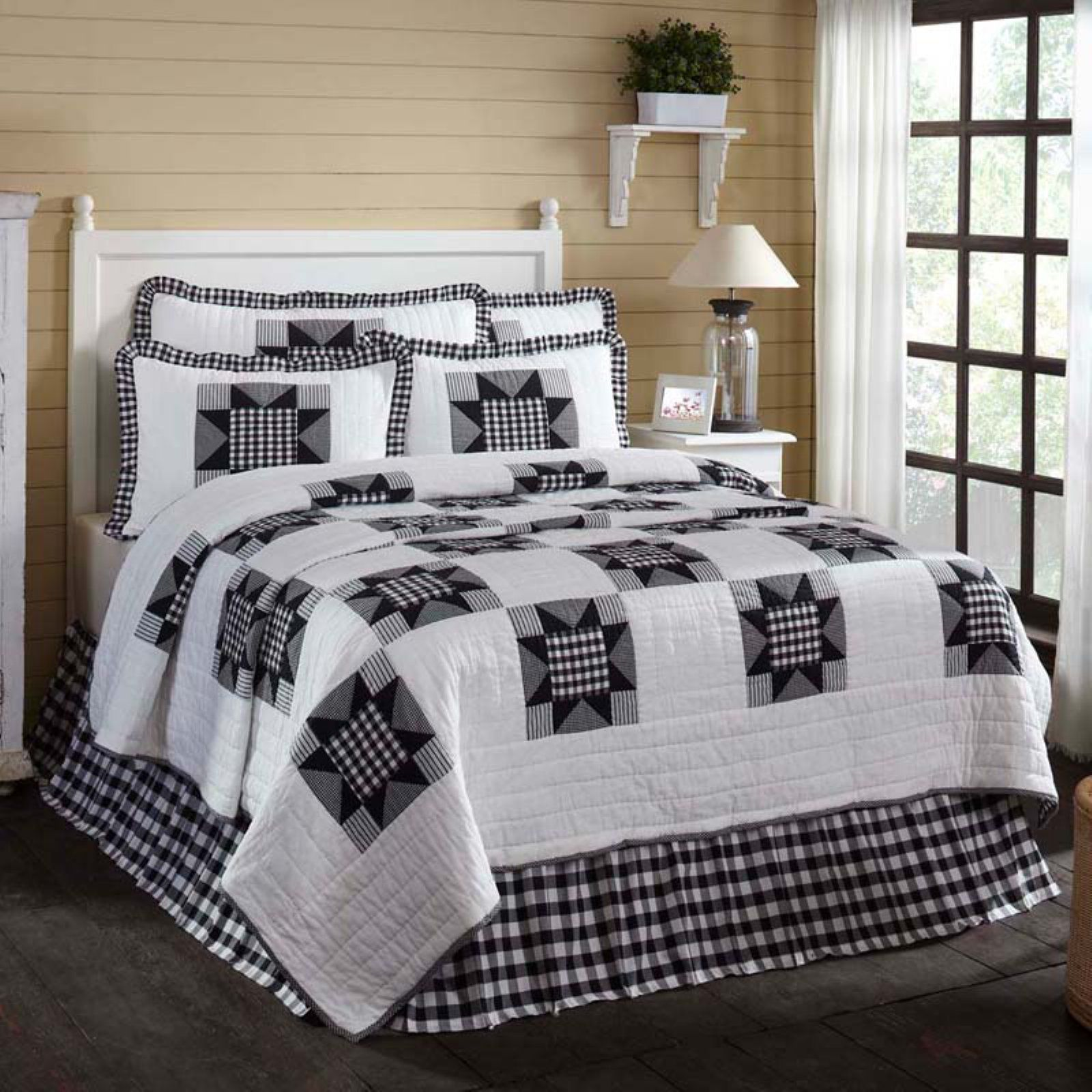 ANNIE BUFFALO BLACK CHECK Ruffled Twin Quilt Farmhouse Country VHC Brands
