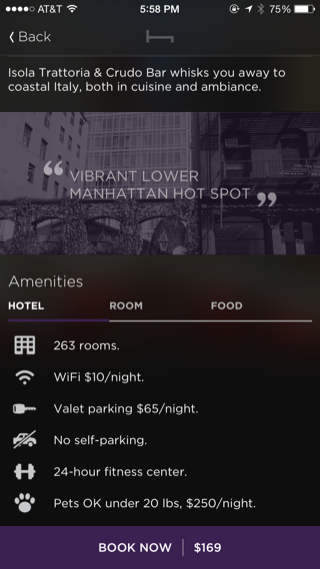 Hotel Tonight iPhone detail views, booking screenshot