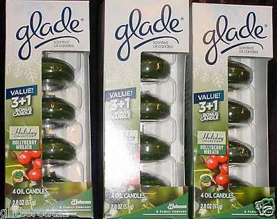 12 Glade Hollyberry Wreath  Oil Candle Refills - New In Original Sealed Package