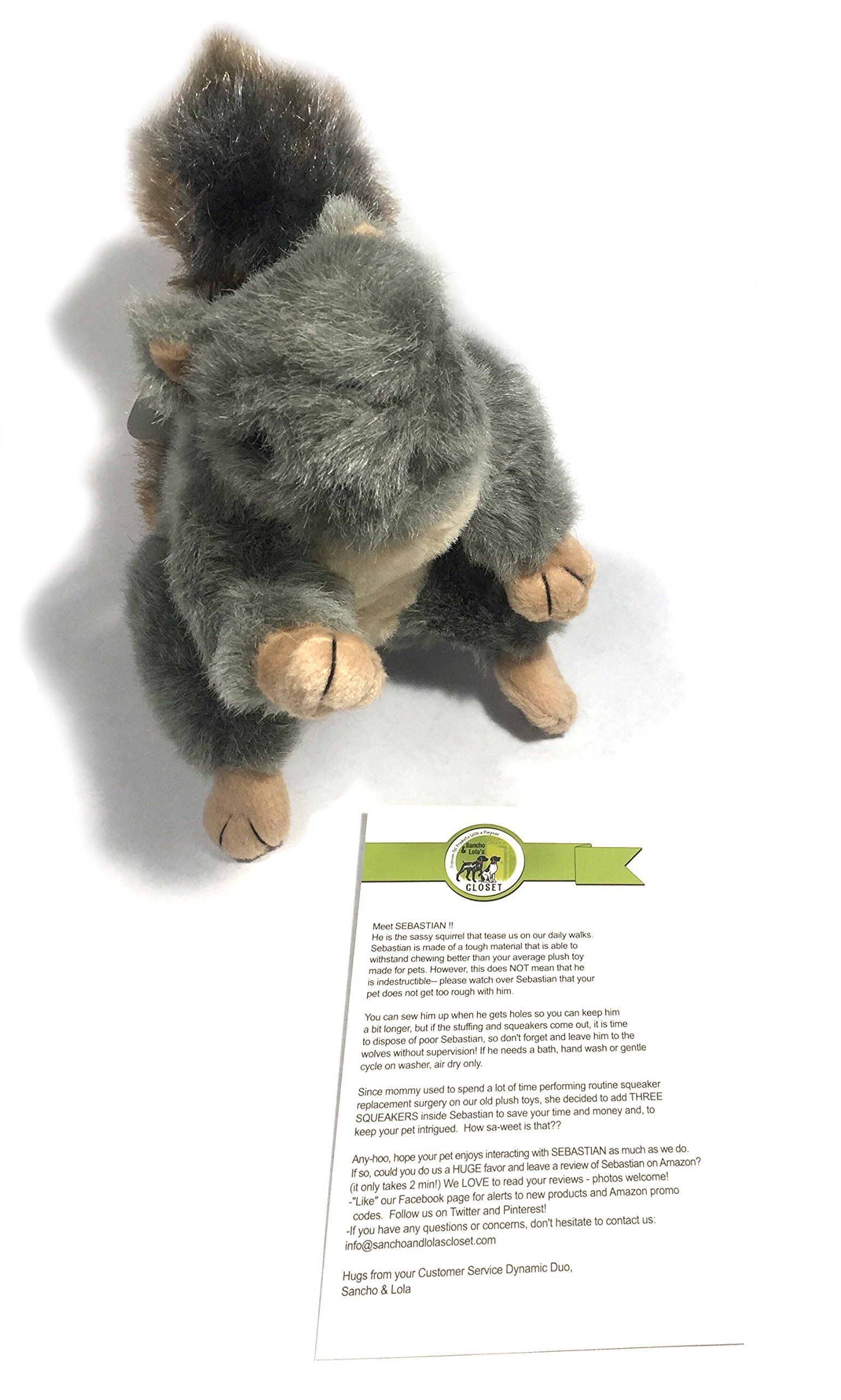 Sebastian Plush Squirrel Dog Toy With Squeaker By Sancho And Lolas