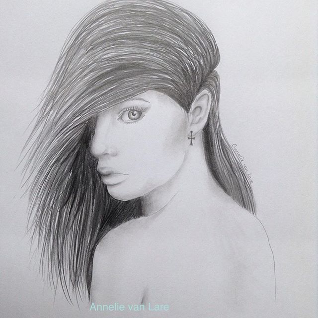 Girl side view pencil drawing by annelie van lare