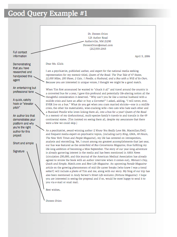 Example Of A Good Query Letter  Writing Tools  Publishing