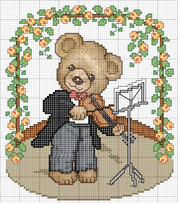 Schema punto croce orsetto con violino cross stitch for Schema punto croce orsetto