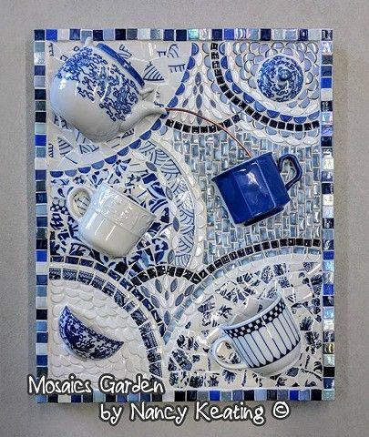 3 Dimensional Pique Assiette Style Mosaic Art Panel Mosaic Art Mosaic Tile Art Mosaic Diy