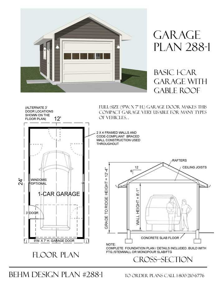 1 Car Basic Garage Plan With One Story 288 1 By Behm Designbehm Garage Plans Garage Plans Garage Plan Building A Shed