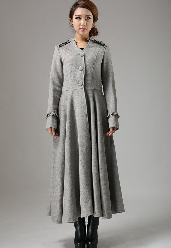 Long Grey Swing Coat with Ruffle Details Ankle Length by xiaolizi