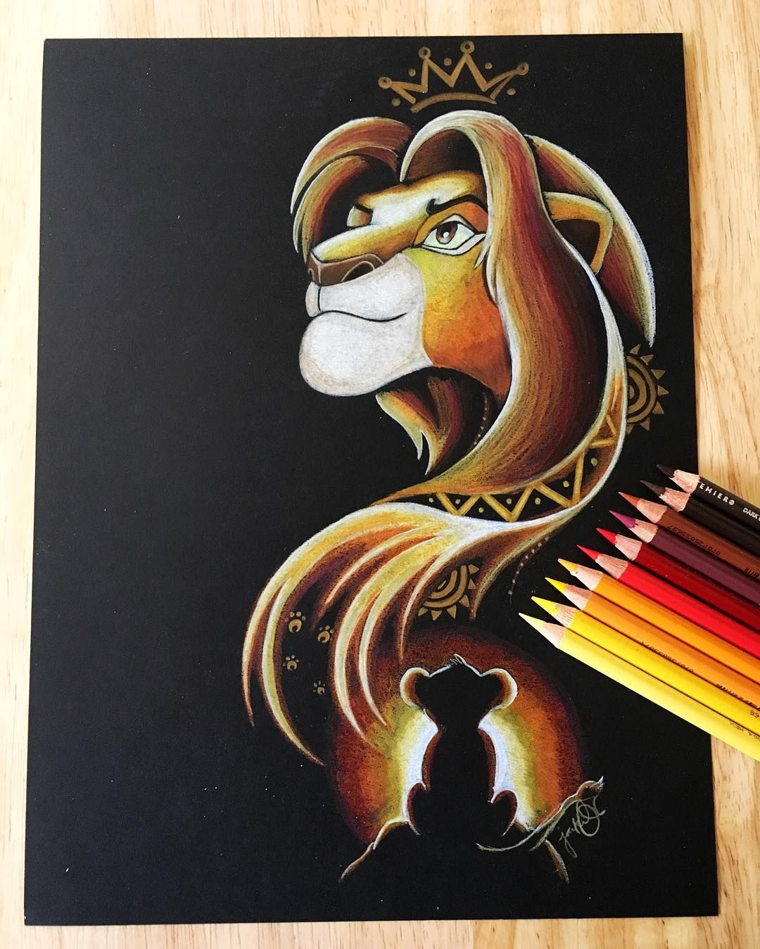 "Photo of Jackie O on Instagram: ""Simba ❤ loving this black paper ☺ #thelionking #simba #hakunamatata #disney #prismacolorpencils #disneydrawing #disneyartfeed #disneyart…"""