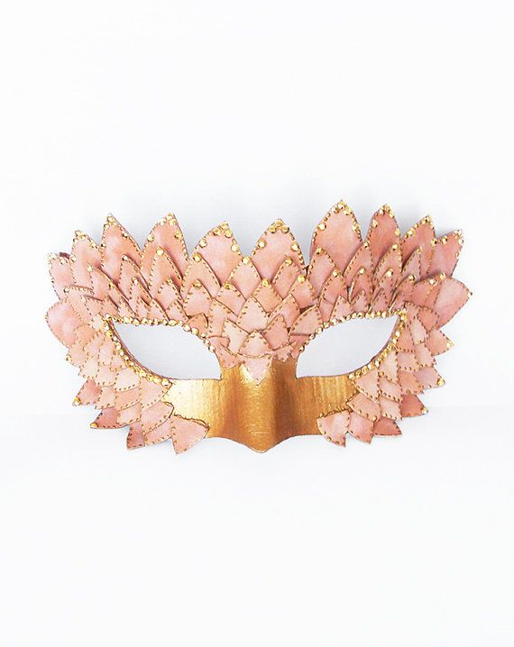 bc41b5d65329 Pink & Gold Masquerade Mask With Satin Leaves - Venetian Style ...