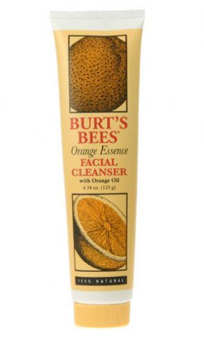 Burt's Bees Orange Essence Facial Cleanser This cleanser doesn't lather at all it's just a nice gel, so there isn't a soapy residue feeling left on your face. A little goes a long way with this product. It works great for removing makeup. It legitimately smells like oranges and leaves you with a super refreshed and clean feeling.