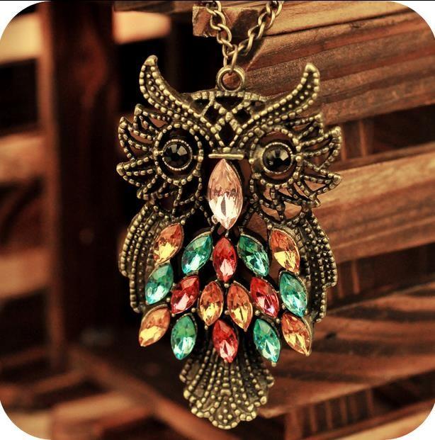 New Retro Fashion Vintage Rhinestone Crystal Big OWL Pendant Chain Necklace