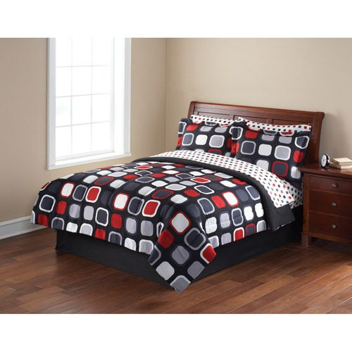 Mainstays Evans Bed In A Bag Bedding Set Walmart Com Black Bed Set Red And Black Bedding Black Comforter