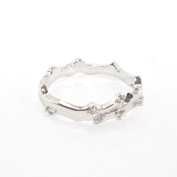 www.allthatring.com * CZ Thorn Twig Wrap Ring - White Gold  * cz diamonds white gold plated on sterling silver * size us 6,7 /eu M, O available