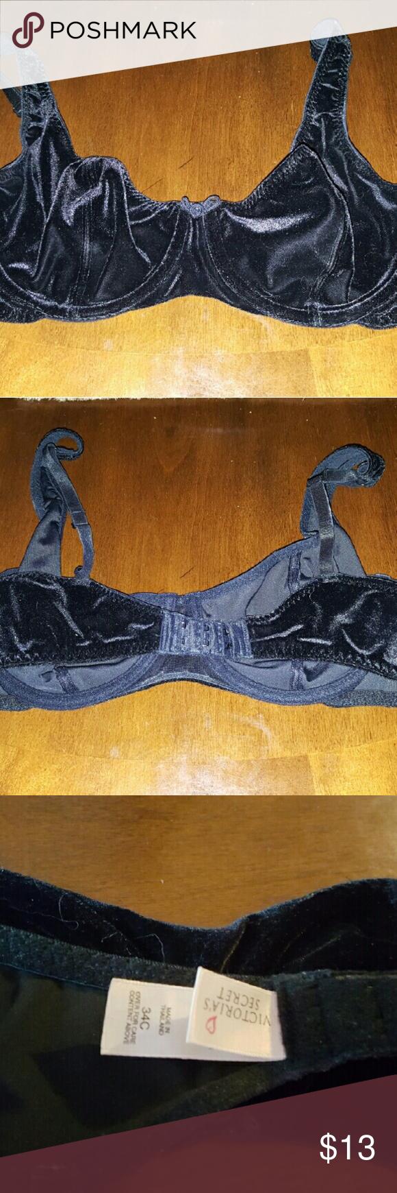 Victoria's secret Velvet bra Black Velvet with underwire Size 34C Preowned Victoria's Secret Intimates & Sleepwear Bras