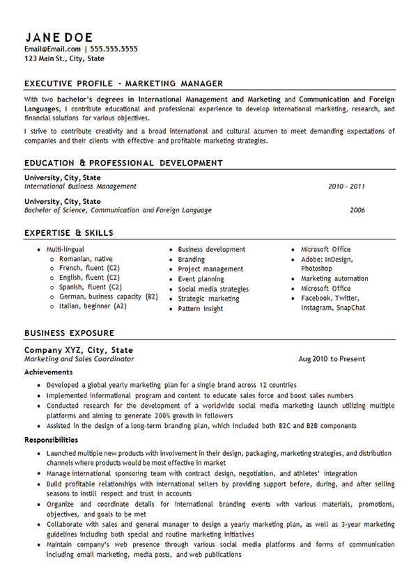 Marketing Manager Resume Example Examples