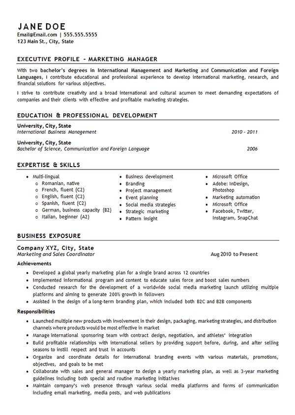 Marketing Manager Job Resume Examples Resume Examples Good Resume Examples