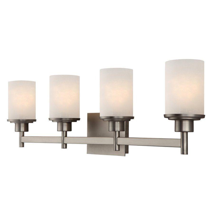 Canarm Lyndi 4 Light 30 In Brushed Nickel Cylinder Vanity Light Lowes Com Vanity Lighting Bath Vanity Lighting Bathroom Vanity Lighting