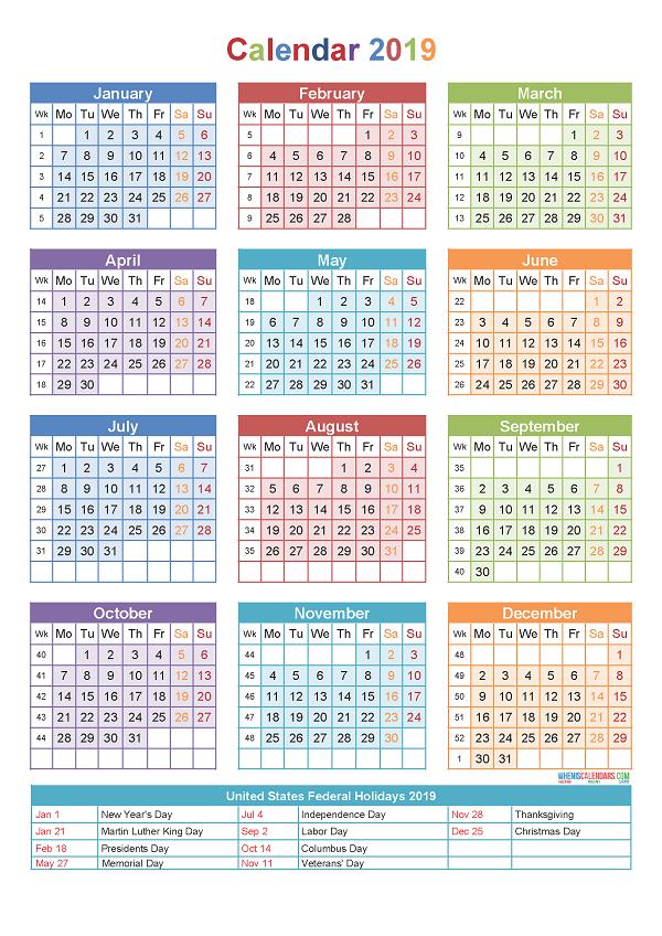 2019 Calendar With Holidays 2018 Calendar Printable Yearly Calendar Template Calendar Printables Printable Yearly Calendar