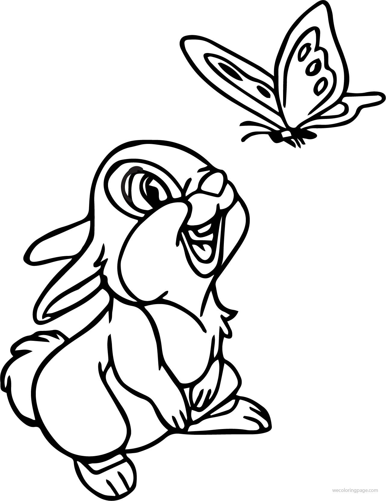 Cool Disney Bambi Thumper Bunny See Butterfly Cartoon Coloring Page Cartoon Coloring Pages Butterfly Coloring Page Bunny Coloring Pages
