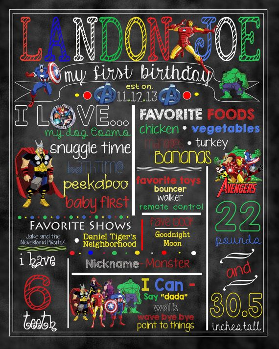 Superhero Party Avengers Milestone Printable First Birthday Superhero Milestone Poster Avengers Birthday Printable Sign Birthday Boy