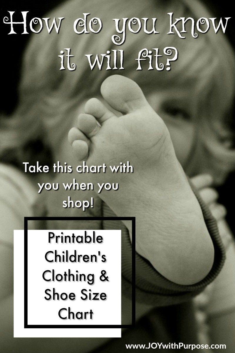 Childrens Size Chart You Can Print Cheap kids clothes