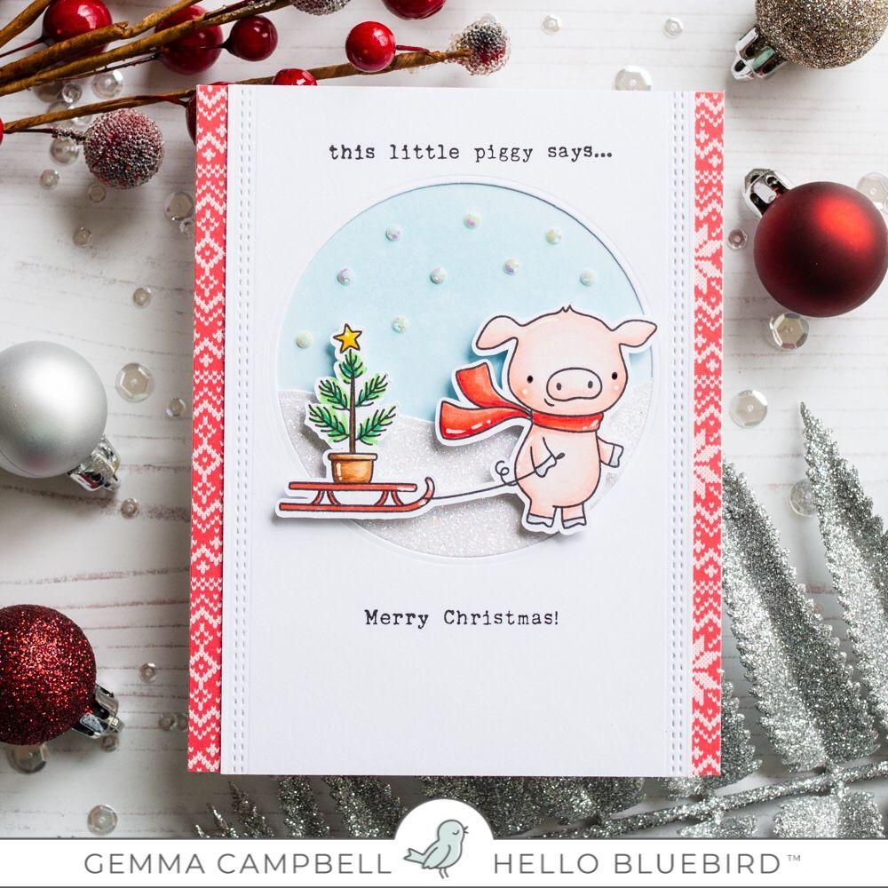 Cute Pigs Xmas Tree Cute Personalized Christmas Card