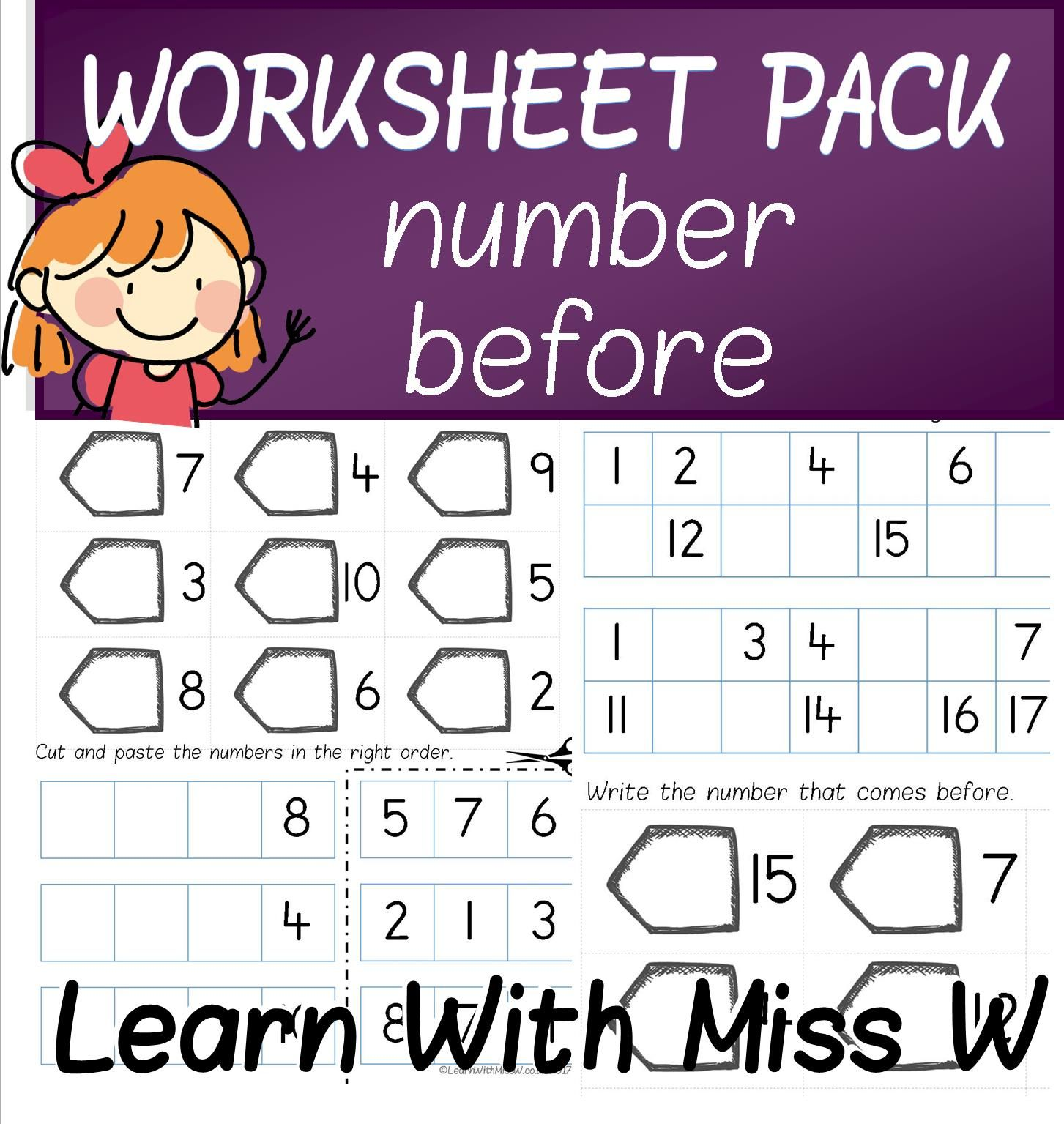 Number Before To 10 20 And 50 Worksheet Pack