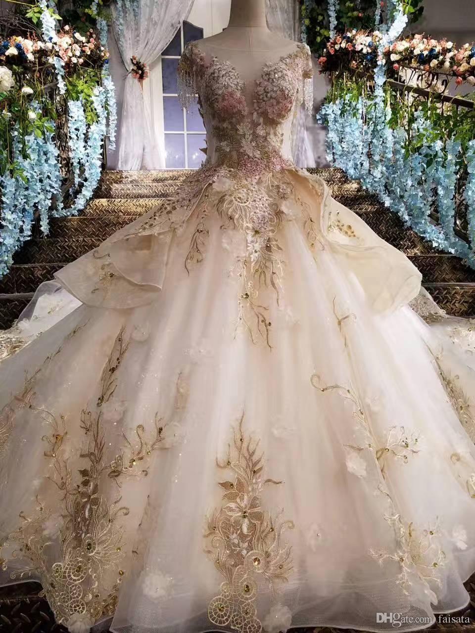 Colors Wedding Dresses 2017 Ball Gown Arabic Wedding Dress Vintage Lace  Champagne Gold Wedding Dresses Luxurious Style Bridal Dresses b5e3c53e0c4b