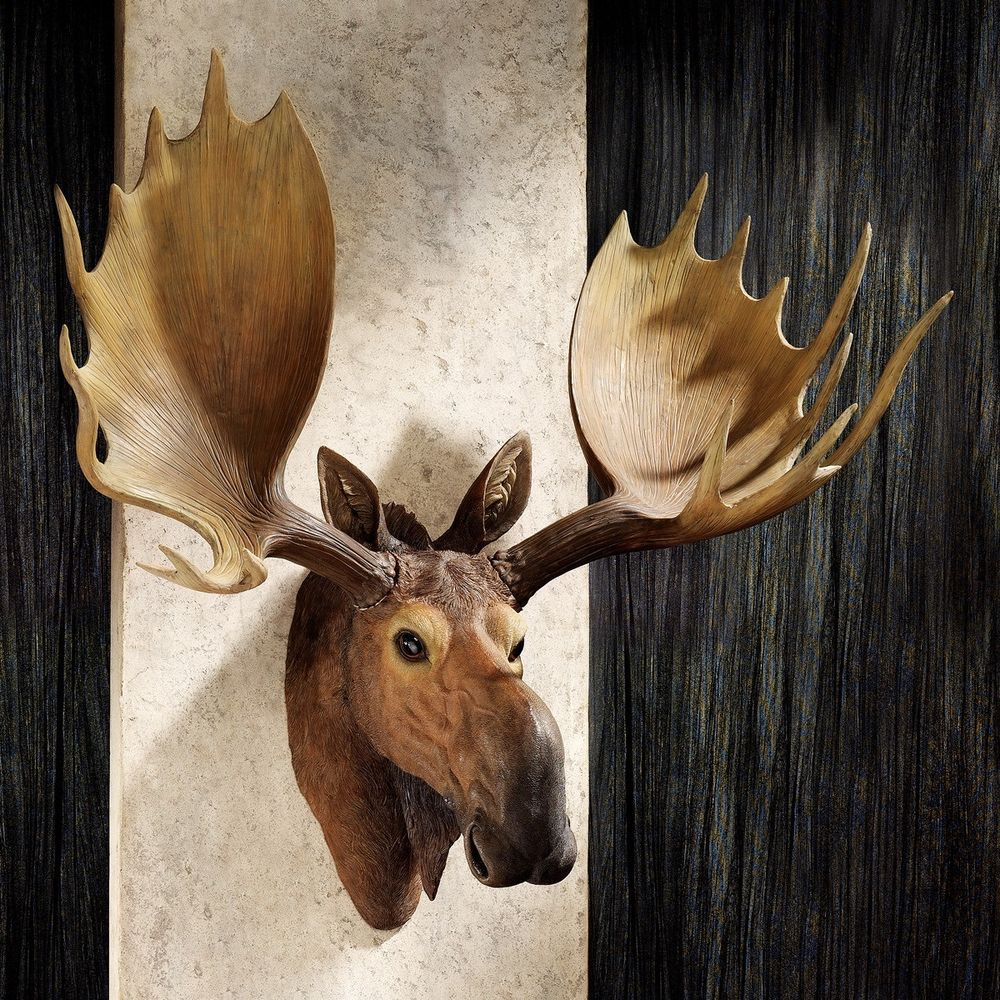 Moose Wall Art Hunting Trophy Mount Antlers Sculpture Rustic Cabin Home  Decor