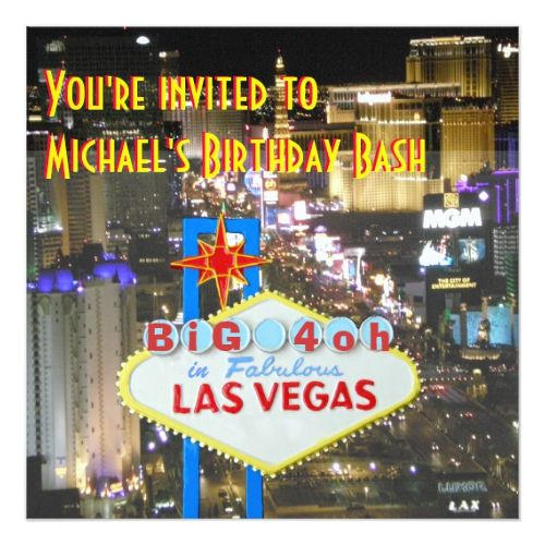Las Vegas 40th Birthday Party Personalized Sign Invitation
