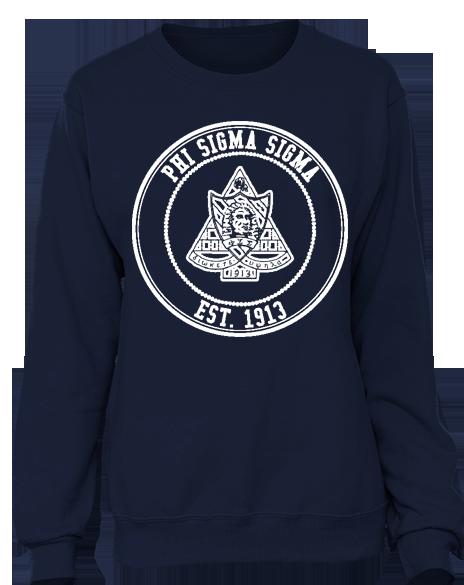 Phi Sigma Sigma Crest Sweatshirt by Adam Block Design   Custom Greek Apparel & Sorority Clothes   www.adamblockdesign.com