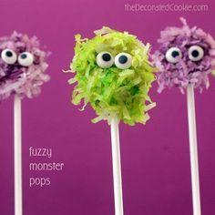 fuzzy monster pops for Halloween: