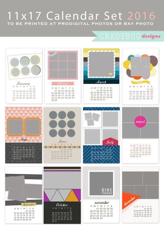 2016 Calendar Set 11x17 Photo Calendar Template Calendar Template