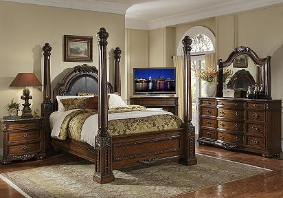 Love This I Love The Bed Pillars So Tall And Sturdy Www Roomstogo Com King Bedroom Sets Bedroom Sets Upholstered Bedroom