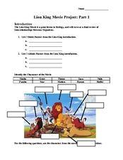 Lion King Movie Project: Part 1 Worksheet | Disney Around ...
