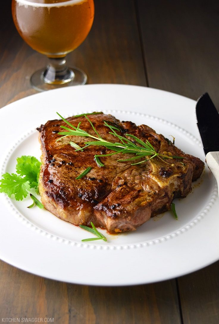 T-Bone Steak with Garlic and Rosemary Recipe - 15 Exceptional Romantic Dinner Ideas for Valentine's Day