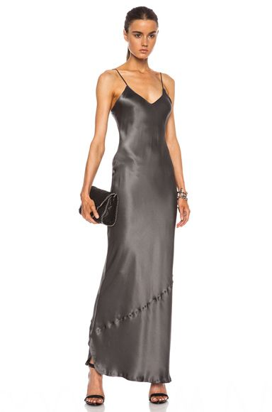 NILI LOTAN | Maxi Cami Silk Dress in Graphite For Amal Alamunddin  (Honeymoon)