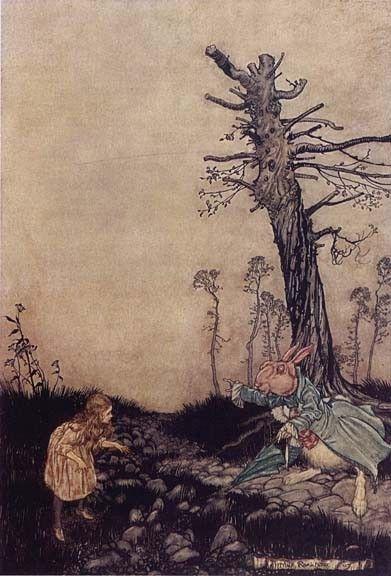 Arthur Rackham : Alice and the rabbit hole