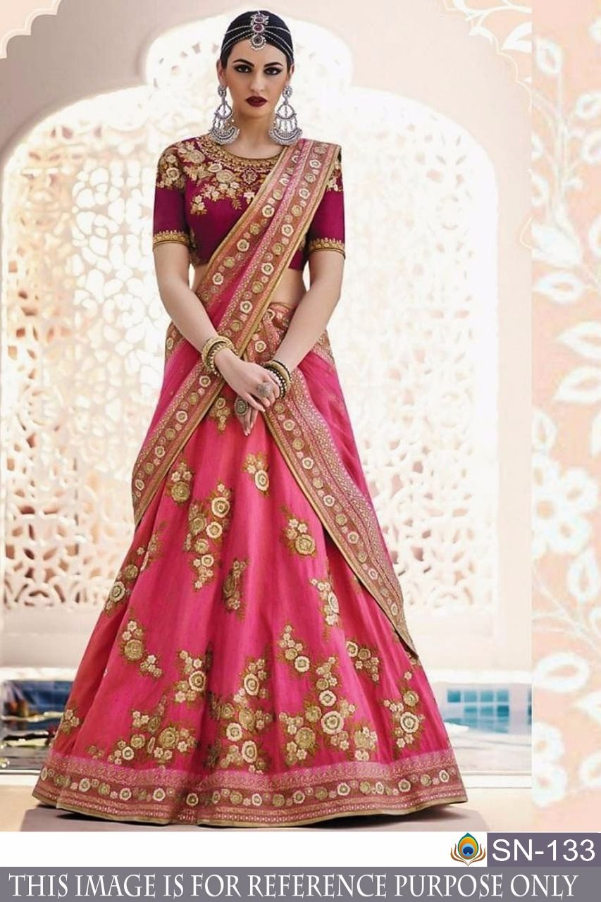 Designer Pink And Golden Lehenga With Hand Work At Fashionfinicky Ethnicwear Lehenga Party Wear Lehenga Designer Lehenga Choli Lehenga Designs