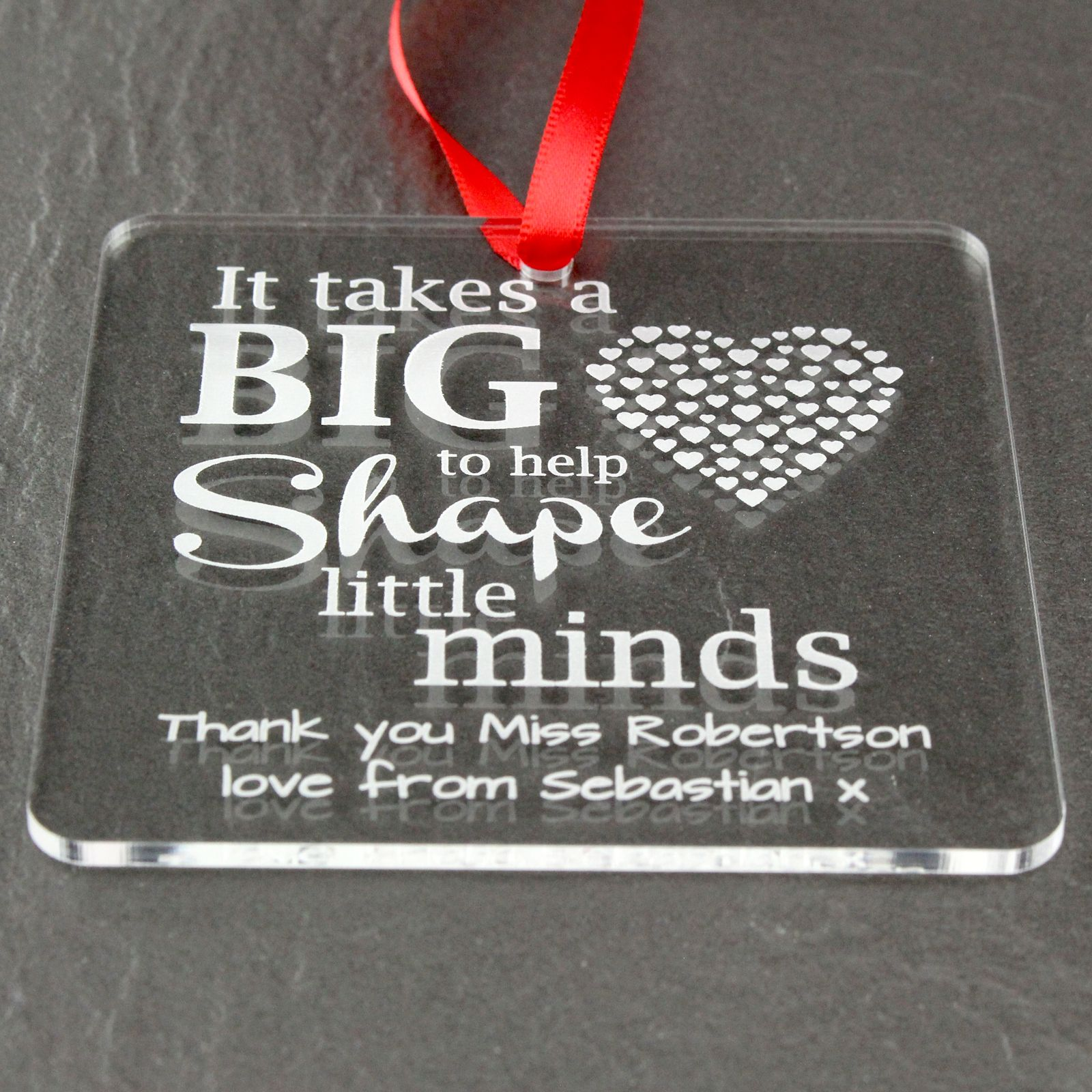 Personalised Teacher Big Heart End of Term Gift