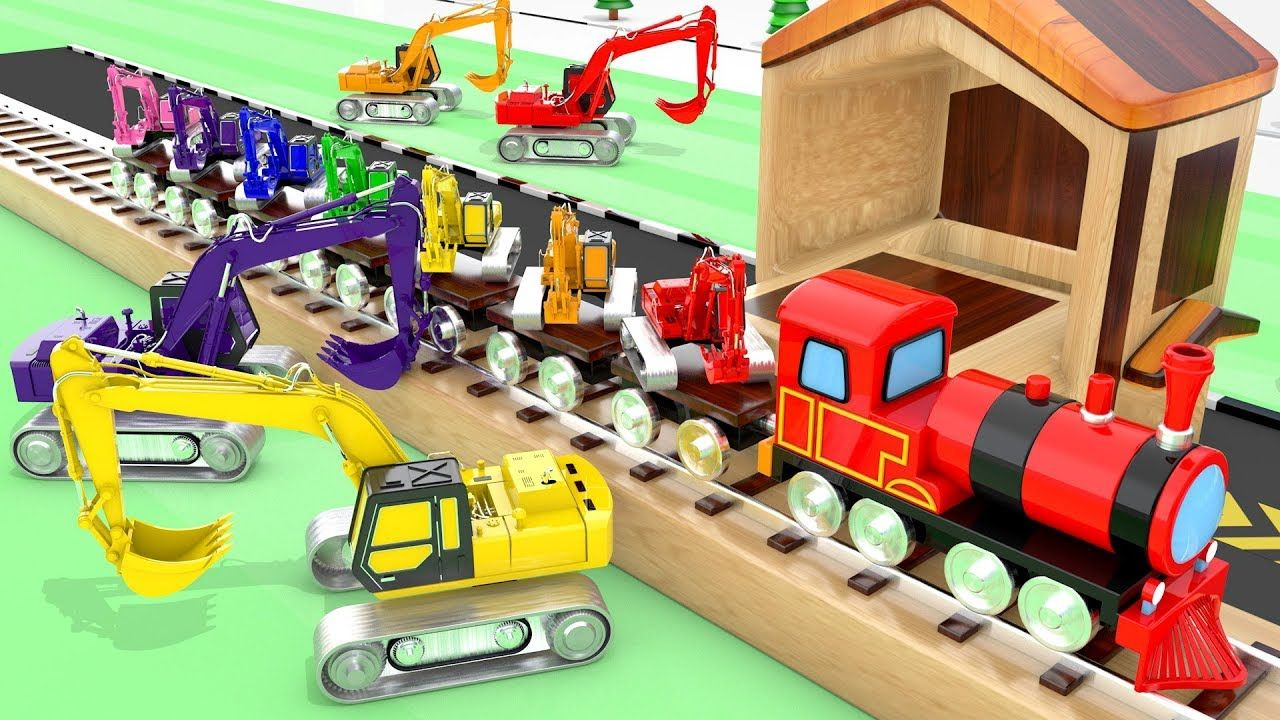 Learning Colors With Color Crane Toys Parking Train Transporter Video Fo Crazy Kids Preschool Kids Rhymes For Kids