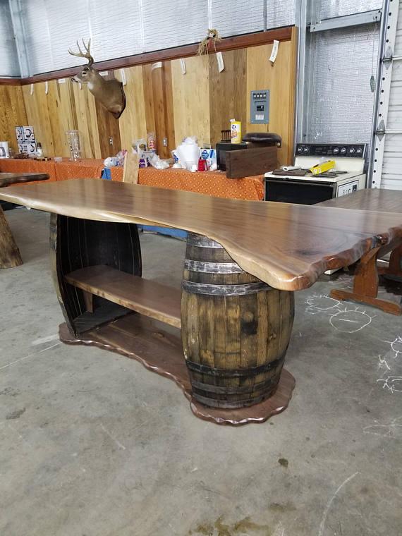 Live Edge Whiskey Barrel Bar Sold Etsy Barrel Bar Wine Barrel Furniture Whiskey Barrel Furniture