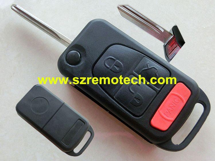 Flip Folding car Shell Remote Key Fob Case 3+1 Button Fit