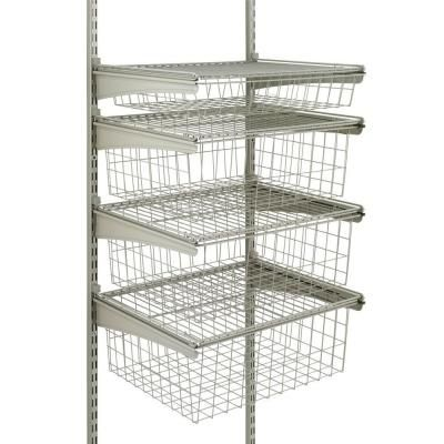 Closetmaid 17 In D X 21 In W X 27 In H Shelftrack 4 Drawer Kit Steel Closet System In Nickel 32815 Closet Drawers Wire Shelving